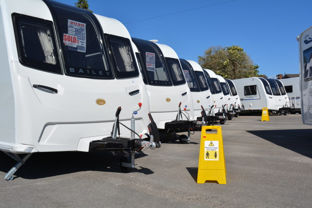 two metre markers on the Campbells Caravans site